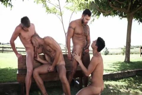 Tattoo gay double penetration With cumshot