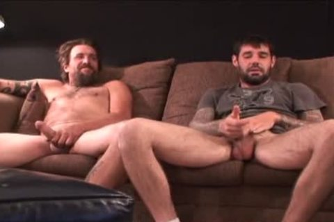 two coarse hairy Straight Redneck Stroking together